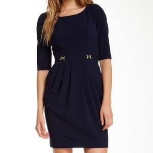 Tahari navy blue 3/4 sleeve pleated waist dress 10